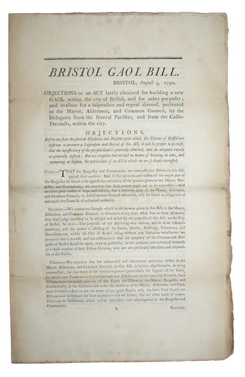 "Photo of ""[Drop-head title:] Bristol Gaol Bill. ..."""
