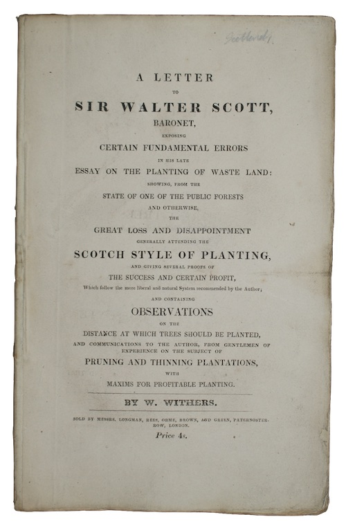 WITHERS, W[illiam] - A letter to sir walter scott, bart. exposing certain fundamental erro...
