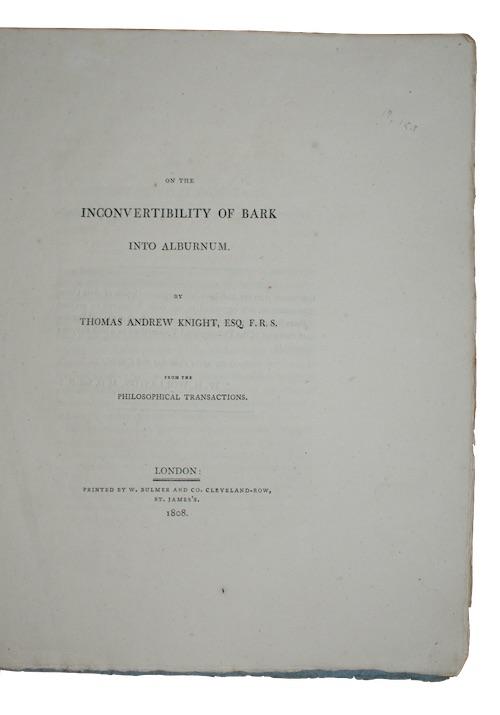 KNIGHT, Thomas Andrew - On the inconvertibility of bark into alburnum