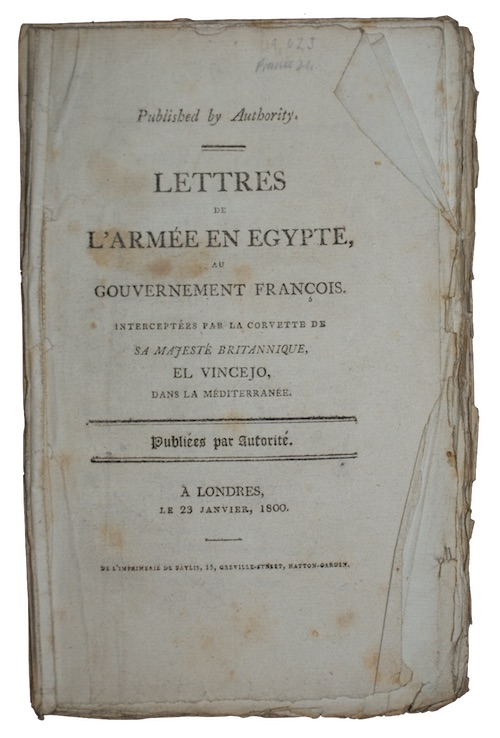 "Photo of ""Lettres de l'armee en egypte, ..."""