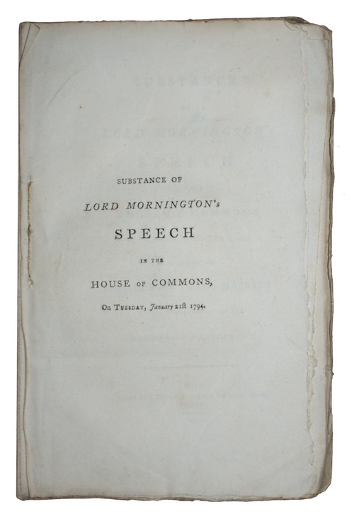 "Photo of ""Substance of lord mornington's speech ..."""