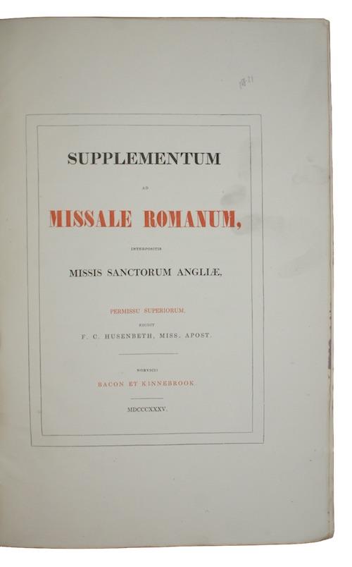 """Photo of """"Supplementum ad missale romanum, interpositis ..."""""""
