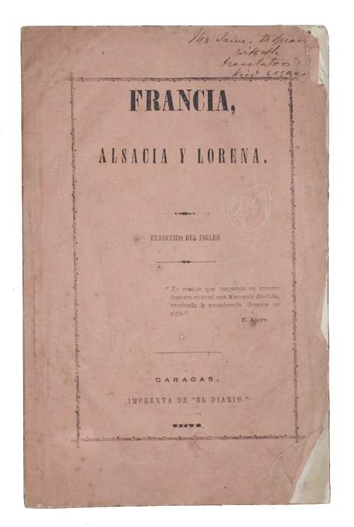 "Photo of ""Francia, Alsacia y Lorena. Traducido ..."""