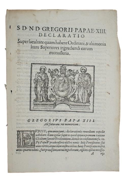 """Photo of """"S.D.N.D. Gregorii Papae XIII. DECLARATIO ..."""""""