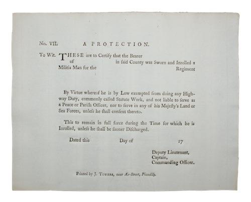 [MILITIA] - [Blank militia enrolment certificate]