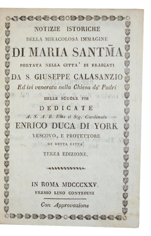 """Photo of """"Notizie istoriche della miracolosa immagine ..."""""""