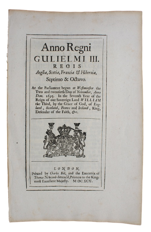 "Photo of ""Anno Regni Gulielmi III. Regis ..."""