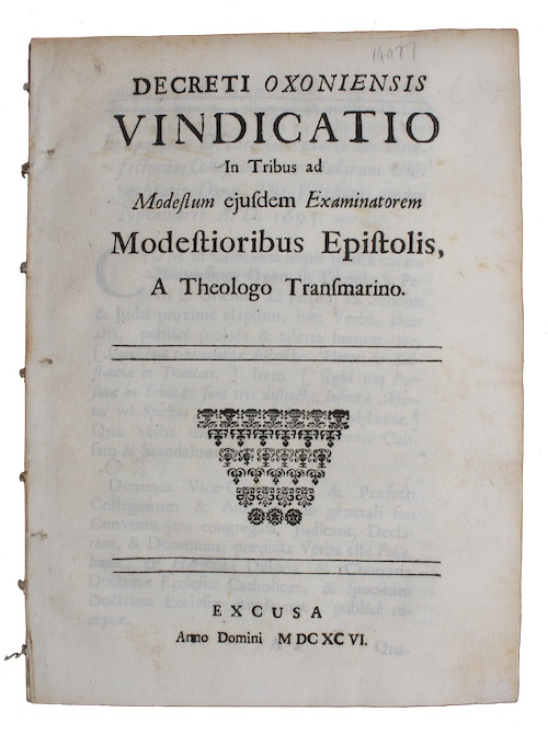 "Photo of ""Decreti Oxoniensis vindicatio In Tribus ..."""