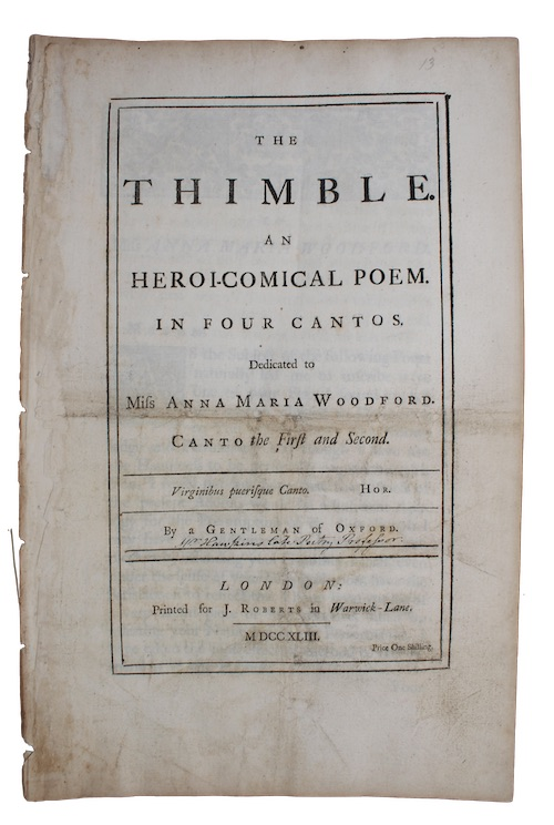 "Photo of ""The thimble. An heroi-comical poem. ..."""