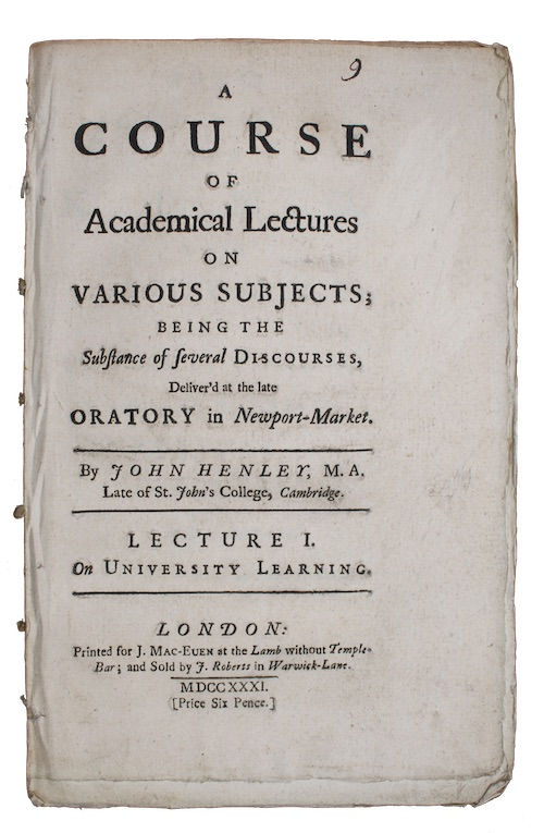 "Photo of ""A course of Academical Lectures ..."""