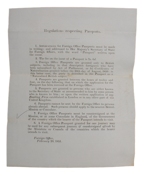 "Photo of ""Regulations respecting Passports"""