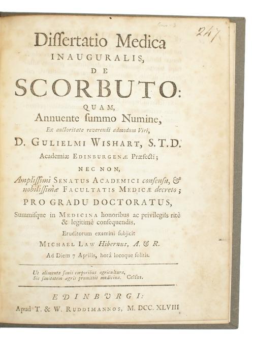 """Photo of """"Dissertatio Medica inauguralis, de scorbuto: ..."""""""