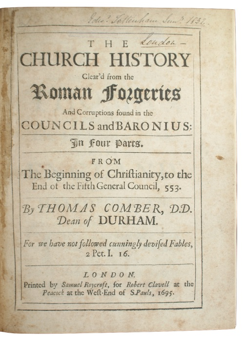 """Photo of """"The church history Clear'd from ..."""""""